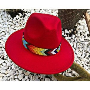 Sombrero Fedora rojo para mujer sombrero para mujer decorado Valledupar Neiva bisuteria flores playa sol elegante vaquero cintas decorado artesanal de moda buga colombia fiesta elegua cucuta tejido cabalgata vueltiao agudeño