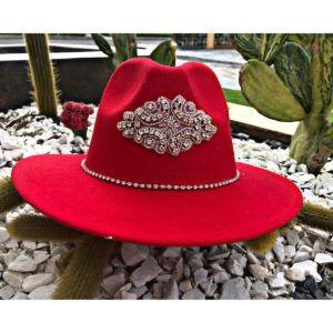 Sombrero Fedora para mujer rojo