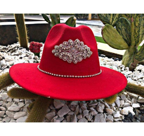 Sombrero Fedora rojo sombrero con adornos para mujer sol vueltiao elegua decorado de moda agudeño bisuteria flores vaquero elegante cabalgata playa Pereira Armenia fiesta cintas artesanal bogota cartagena bucaramanga Ibagué
