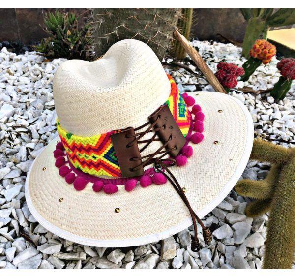 sombrero para mujer decorado elegante vueltiao sol flores playa artesanal de moda cintas vaquero agudeño elegua fiesta decorado bisuteria colombia cucuta soledad Valledupar Neiva buga cabalgata