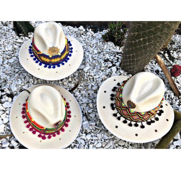 sombrero decorado para mujer playa vueltiao elegante elegua cintas sol decorado flores bisuteria agudeño vaquero fiesta artesanal de moda bogota barranquilla bello Ibagué Manizales Armenia cabalgata