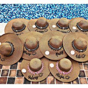 pava con nombre bordado para mujer con nombre tejido sombrero para el sol para la playa personalizado demorado para dama elegante para mujer