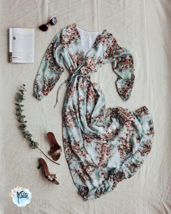 Vestido largo para mujer con Flores Aguamarina