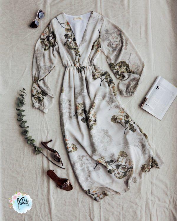 Vestido largo Flores en Beige para Mujer