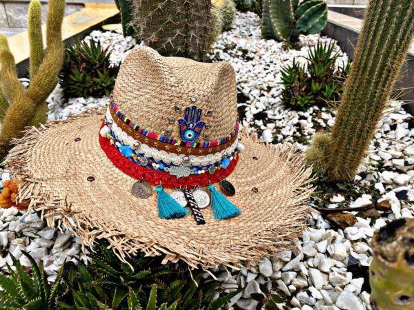 sombrero para mujer decorado cintas flores de moda playa sol elegante vueltiao vaquero agudeño elegua artesanal decorado bisuteria colombia cucuta soledad Valledupar Neiva buga